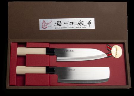 Zestaw 2 noży japońskich - Santoku + Nakiri - Satake Cutlery